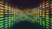 red square : Colorful blocks of data on a curved screen background Stock Footage