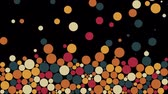 Colorful random scale circles fill a black background Archivo de Video