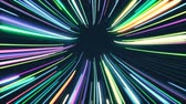 rainbow rays : Tunnel formed by colorful glowing lines loop Stock Footage