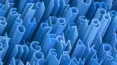 impressão : Random 3d blue letters and numbers animated background