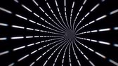 Camera navigating into dashed white lines on a black background tunnel loop Stockvideo