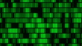 Horizontally flowing green electronic data blocks background loop