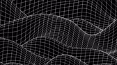 geometryczne : Curved morphing square grid black and white background loop