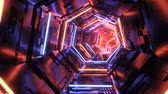 Futuristic reflective metal tunnel loop with glowing red and blue neons