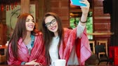 память : two close girlfriends want to make a selfie in the cafe on memory