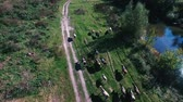 gerçek : aerial view over the meadows somewhere in rural areas