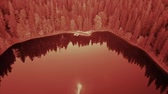 filtro : Aerial top view of lake. infrared filter Vídeos