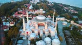tarihsel : Sehzade Mosque from sky Golden Horn Istanbul Stok Video