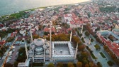 minare : Sehzade Mosque from sky Golden Horn Istanbul Stok Video