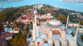 turizm : Sehzade Mosque from sky Golden Horn Istanbul Stok Video