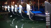 doca : Row of gondolas and glowing streets. Italy, Europe