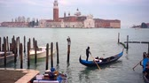venedig : Gondolas moored by Saint Mark square