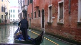 veneto : Venetian channel with ancient houses and boats Stock Footage