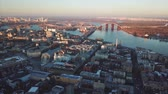 church : Aerial drone footage. Panorama of podil in kiev Stock Footage