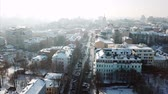 Aerial drone footage. Panorama of podil in kiev at winter Dostupné videozáznamy