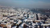 wohnhaus : Aerial drone footage. Panorama of podil in kiev at winter Stock Footage