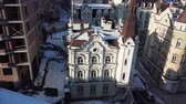 Aerial drone footage. Panorama of podil in kiev Archivo de Video