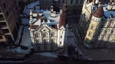 wohnhaus : Aerial drone footage. Panorama of podil in kiev Stock Footage
