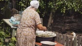 grizzled : preparation of pet food. very old woman preparing a meal in a large bowl Stock Footage