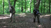 haki : Guerilla partisan warriors attacking aiming in forest ambush carrying their guns. War battlefield maneuvers training. Steadicam shot. Stok Video
