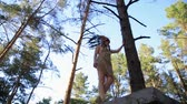 абориген : Native American Indian looking beautiful woman walking in the forest. Low angle shot.