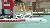 america : Luna Rossa crew getting ready for race in Venice during America Stock Footage
