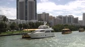 america : Downtown Miami seen from a navigating boat Stock Footage