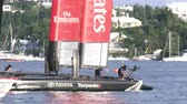 bermudas : Emirates Team New Zealand AC45 wingsail catamaran docked in Hamilton, Bermuda, During Americas Cup World Series Stock Footage