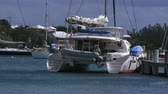 maritime territory : Luxury catamaran docked in the small town of St. George, Bermuda