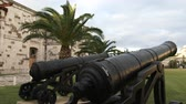 maritime territory : Old cannons in the Royal Naval Dockyard in the British Overseas Territory of Bermuda Stock Footage
