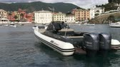 zodiak : Rubber boat docked in Silence bay in Sestri Levante, a small town, poular tourist destination in Italy