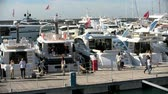 İtalya : People attend Genoa Boat Show, the most important exhibition of boats in Italy Stok Video