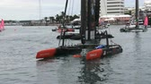 regaty : Americas Cup AC45 wingsail catamarans docked in Hamilton, Bermuda, during Americas Cup sailing series