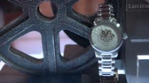 harvest : Automatic watch exhibited at Lucien Rochat booth at Baselworld watches and jewelry show in Basel, Switzerland. Stock Footage