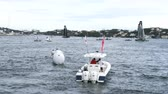 bermudas : Race field of Americas Cup World Sailing Series in Hamilton, Bermuda Stock Footage