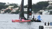 regaty : Americas Cup AC45 wingsail catamaran getting ready for regatta in Hamilton, Bermuda, during Americas Cup sailing series