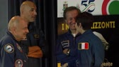 mekik : Italian astronauts chatting before the 55th anniversary event of the aerobatic demonstration team of the Italian Air Force Stok Video