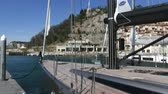 jib : Mast of luxury sailing boat docked in small marina in Italy