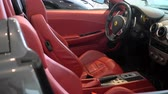 expensive : Red leather seats and cockpit of a Ferrari F430 Stock Footage