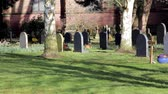 pedra tumular : Picturesque Church Yard in Morning Light - Squirrels, beautiful flowers & Grave stones - Tree Shadows Rural Setting - English Countryside Nature Walks Backgrounds