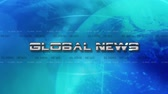 manchete : Global News 4K Animation - Text Flies in - Blue