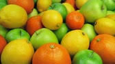 citrom és narancsfélék : Oranges, Apples And Lemons Pile Stock mozgókép