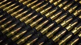 macro shooting : Many Rifle Bullets Mass Production Concept Stock Footage