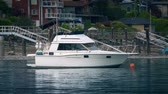 expensive : Yacht Moored In The Bay Stock Footage