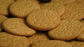 snacks : Plate Of Plain Cookies Stock Footage