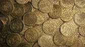 пират : Medieval Gold Coins Pile Rotating Overhead Shot