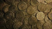 shipwreck : Medieval Gold Coins Pile Rotating Overhead Shot