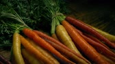 veg : Passing Washed Carrot Bunches Stock Footage