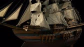 mesa de madeira : Passing An Old Model Ship Stock Footage