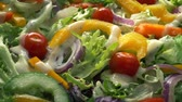 crocante : Dressing Pours On Delicious Mixed Salad Stock Footage